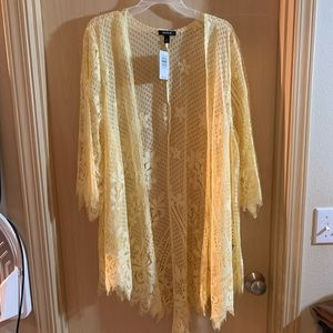 Torrid yellow lace kimono